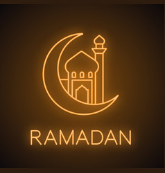 mosque with ramadan moon neon light icon vector image