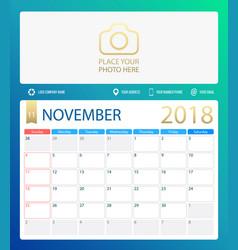 november 2018 calendar or vector image