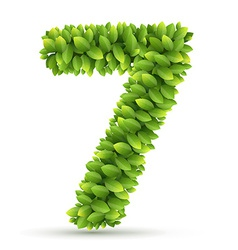 Number alphabet green leaves vector