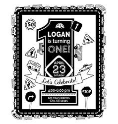 One year Birthday invitation for boy vector image