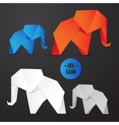 paper origami elephant icon Colorful vector image