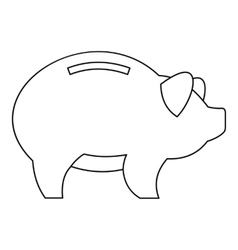 Piggy icon outline style vector