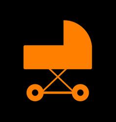 pram sign orange icon on black vector image