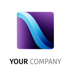 purple and blue square logo vector image