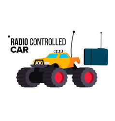 Radio controlled car toy isolated flat vector