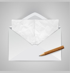 Realistic envelope with a pencil vector