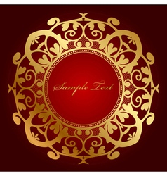 red background with gold ornament vector image