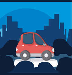 red small car in the city vector image