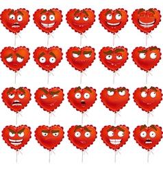 Red Valentine balloon smiles set vector