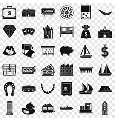 riches icons set simple style vector image