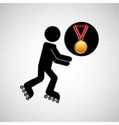 roller skating medal sport extreme graphic vector image
