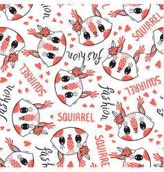 Seamless pattern with cute squirrel face with a vector