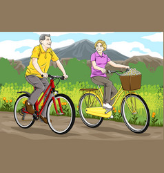 senior riding bicycles vector image