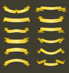 set golden ribbons banners flat design vector image