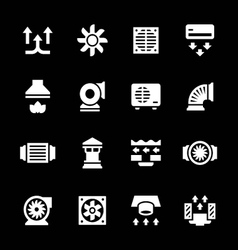 Set icons of ventilation and conditioning vector