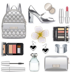 Silver fashion accessories vector