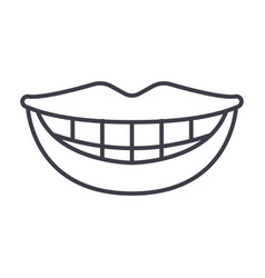 Smile teeth mouth line icon sign vector