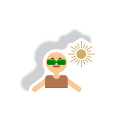 Stylish icon in paper sticker style man in vector