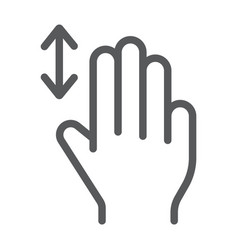 three fingers vertical scroll line icon gesture vector image