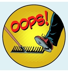 To step on a rake Failure and problems pop art vector