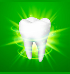 tooth on a green background vector image
