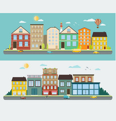 town streets in a flat design set of urban vector image