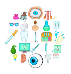 Traditional medicine icons set cartoon style vector