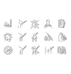 Vaccination and immunization linear icons set vector