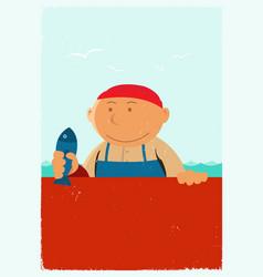 vintage fishmonger poster background vector image