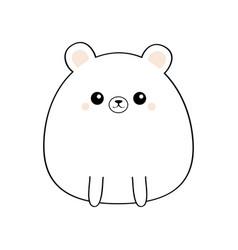 White bear face head body kawaii animal cute vector