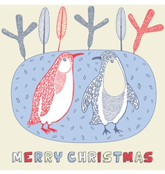 Doodle Christmas Penguin Card vector image vector image