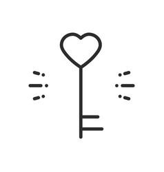 key line icon heart shape happy valentine day vector image