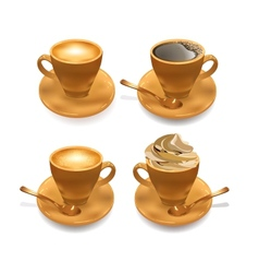 Set of Isolated Realistic Cup of Coffee vector image