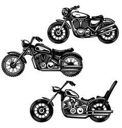 Set of vintage motorcycle isolated on white vector