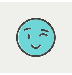 Winking emoticon thin line icon vector image