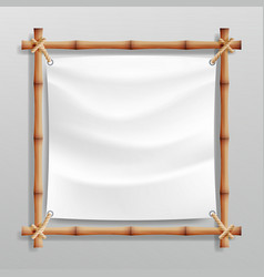 bamboo frame with white canvas wooden vector image vector image
