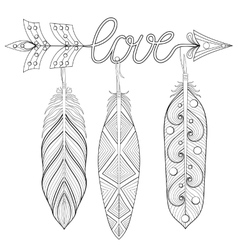 Bohemian Arrow Hand drawn Amulet wih word Love vector image vector image