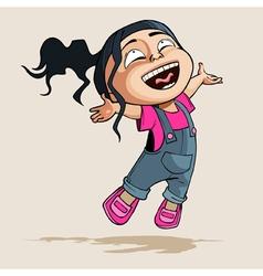 cartoon enthusiastic little girl joyfully jumps vector image vector image