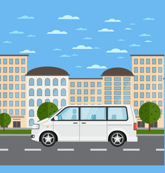 modern family minivan in urban landscape vector image vector image