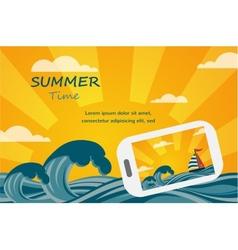 Summer tropical concept background smartphone make vector image
