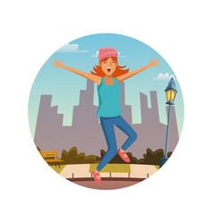 young woman jumping at the city vector image