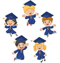 Cartoon little kids celebrate their graduation on vector image vector image