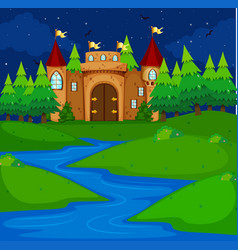 castle tower in the field at night time vector image vector image