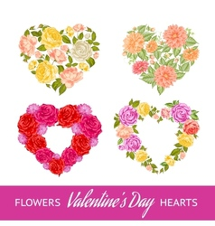 Four rose hearts set vector image