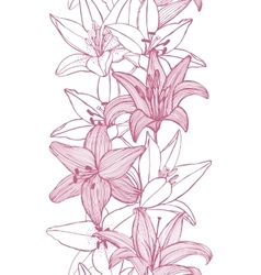 seamless background with lilies vector image vector image