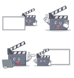 Set of movie clapper character with board phone vector