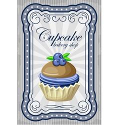 Vintage cupcake poster vector image