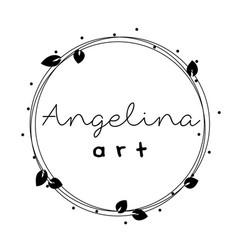 feminine logo frame wreath with leaves round vector image