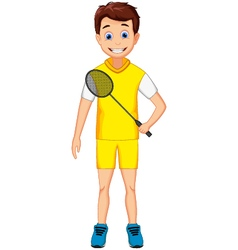 funny young boy holding badminton racket vector image vector image