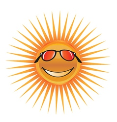 sun character with sunglasses logo vector image vector image